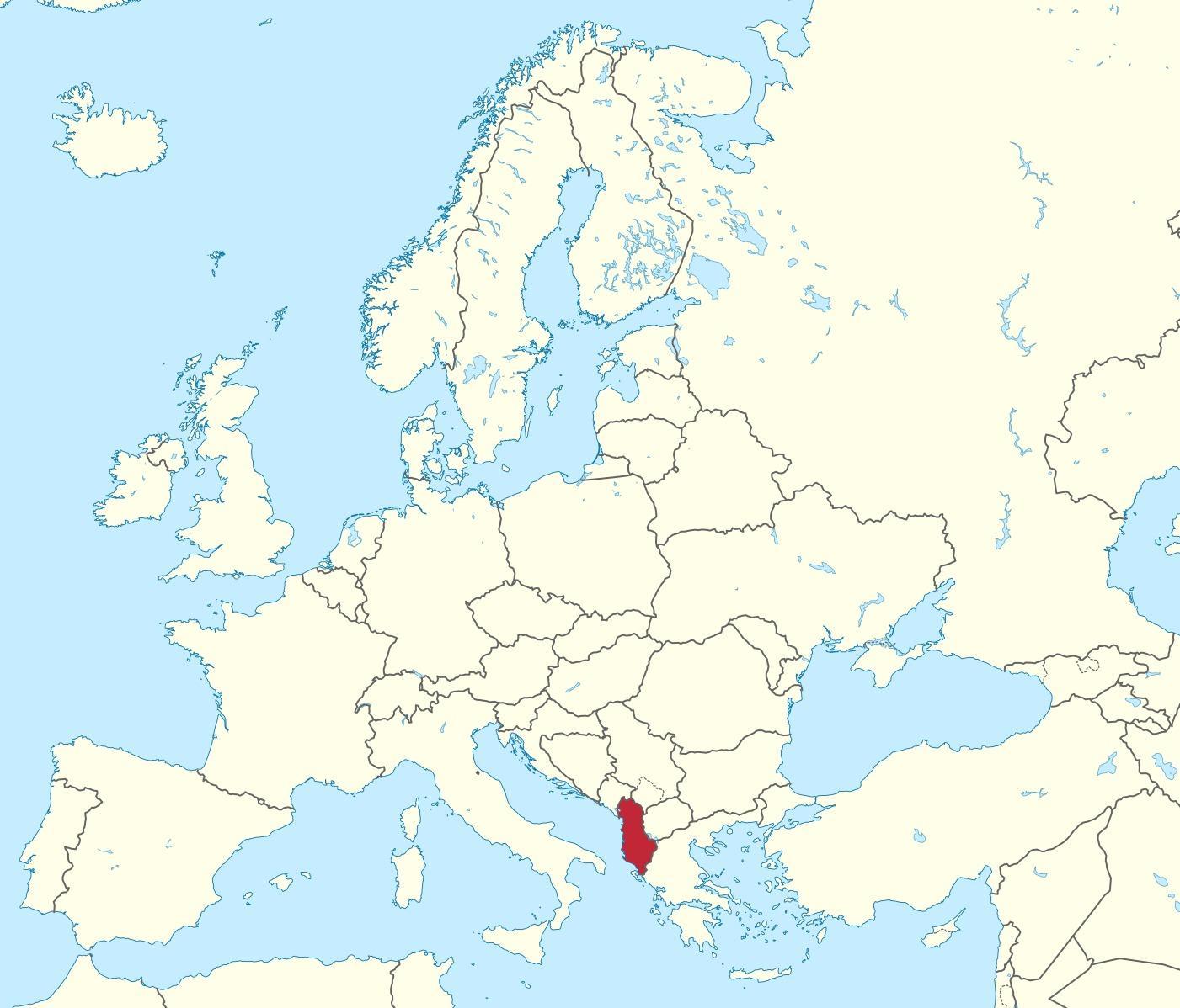 Albanien Pa Europas Karta Karta Over Albanien Pa Europeisk