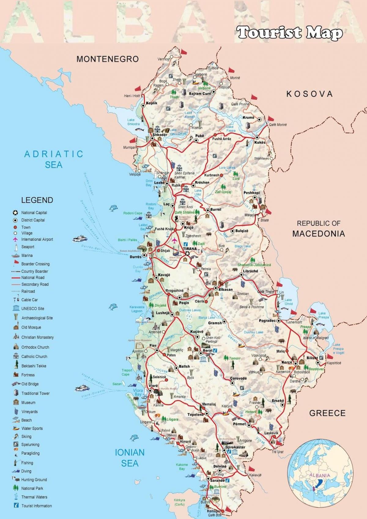 Dhermi Albanien Karta Dhermi Karta Albanien Sodra Europa Europa